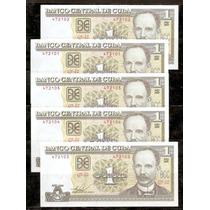 Cuba 2009 - José Martí - Lote De 5 Billetes De 1 Peso