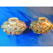 El Arcon Antiguo Par De Floreros Porcelana Capodimonde 36125
