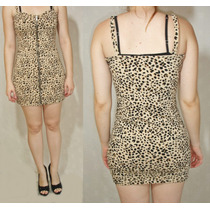 Vestido Divided By H&m Animal Print Con Cierre Talle 42
