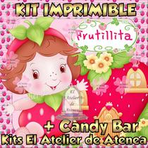 Kit Imprimible Frutillita Bebe Diseñá Tarjetas Candy Bar 2x1