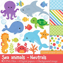 Kit Imprimible Animalitos Fondo Del Mar 7 Imagenes Clipart