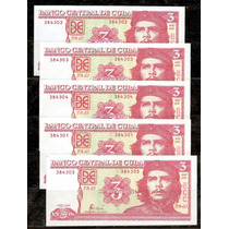 Cuba 2004 - Che Guevara - Lote De 5 Billetes De 3 Pesos !!