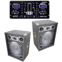Combo 2 Bafles C/ Amplificador + Mixer Con Doble Lector Usb