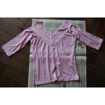 Remera Escote V Talle Xs Una Color Rosa Y Otra Color Blanco