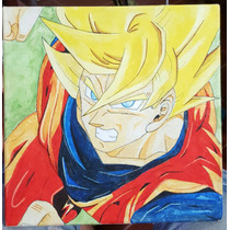 Pintura - Goku Atacando - Al Óleo 30 X 30 Cm