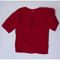 Camisola De Lienzo Algodon Unisex Rojo Talle S