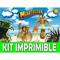 Kit Imprimible Madagascar Cumpleaños Tarjetas Invitaciones