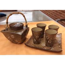 Juego De Te Ceramica Estilo Oriental + Plato Masitero