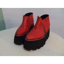 Botas Cortas Sofia De Grecia Color Rojo Talle 35