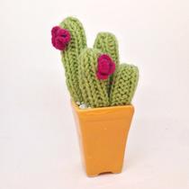 Cactus Tejido En Crochet Con Maceta De Ceramica