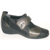 Zapatos Cuero Vacuno Brenda Taco Chino Con Abrojo