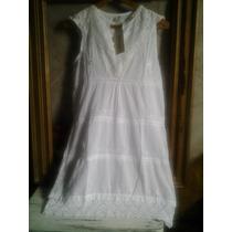 Vestido Solero Hindu Blanco Algodon Bordado Importado Único!