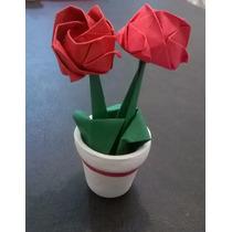 Souvenir Cumpleños 15-maceta Mini Con Rositas! *origami Deco