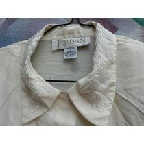Blusa Camisa Seda Natural Bordada Canutillo Import Talle L