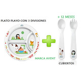 Plato Playo + Set De Cubiertos Avent +12m Nimocabebes