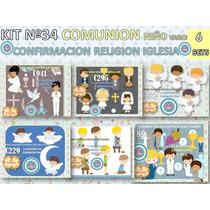 1 Kit Imprimible X 6 Comunion Niño Nene Varon Confirmacion