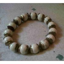 Pulsera Extensible En Dorado Con Perlas