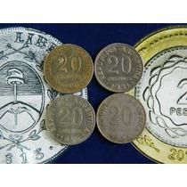 4 Monedas San Martin 20 Centavos 1950 1951 1952 1953