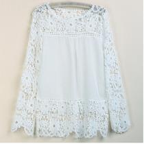 Hermosa Blusa Camisa Con Encaje.divina!!!