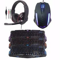 Combo Kit Gamer Mouse Teclado Auricular C/mic Retroiluminado