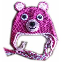 A Pedido Gorros Ositos Niños Orejeras Trenzas Crochet