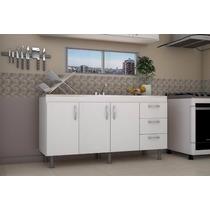 Mueble Bajo Mesada 160 Cm Blanco Roble Cocina 1.60m Laqueado