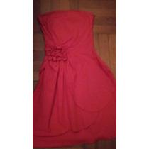 Vestido Strapless Color Coral, Talle S.