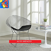 Sillon Diamond Harry Bertoia Cromado Almohadon Incluido