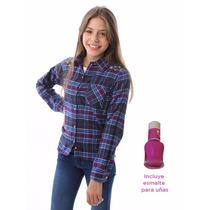 Camisa Escocesa De Viyela Gamuzada Pecosos