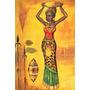 Cuadro Africana Con Marco De 4,5 Cm Patinados! Consulte!!!