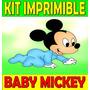 Kit Imprimible Baby Mickey Cumpleaños Tarjetas Invitaciones