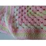 Manta Tejida A Mano Crochet 80*80 Cm Rosa Amarillo Bebe