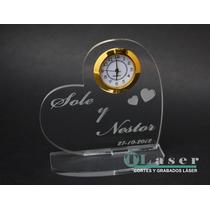 Souvenir De Boda En Acrilico Con Reloj, Nombres Grabados