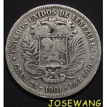 5 Bolivares. Moneda Antigua Venezuela Del Año 1901 Plata Ra