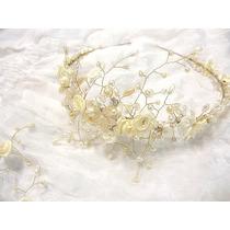 Vincha Tiara Tocados Flores Perlas Hojas Aros Novias 15