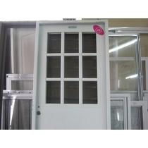 Puerta De Exterior 1/2 Reja De 80x200 Con Vidrio Chapa 18