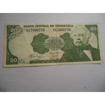 Billete De Venezuela 20 Bolivares De 1987