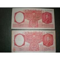Dos Billetes De 10 Pesos Moneda Nacional Serie D Y G