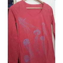 Camiseta Rosa Con Medusas Algodón