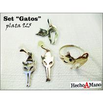 Set Gato Plata Anillo Dije Aros Original *joyas C/ Espiritu*