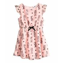 Vestido De Organza Estampada H&m Importado Nena