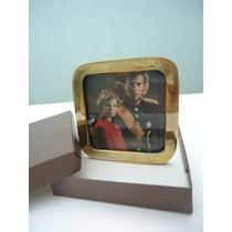 Antiguo Portarretrato De Bronce Dorado Macizo Con Vidrio