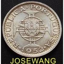 5 Patacas Moneda De Macau Portuguesa Del Año 1952 Plata S/c