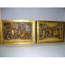 Par Placas Platos Cuadros Bizcocho Ceramico Antiguo (032)