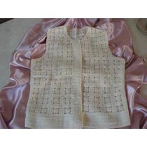 Chaleco Crema Tejido Al Crochet, Antiguo En Perfecto Estado