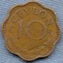Ceilan 10 Cents 1944 * Colonia Inglesa * George Vi *ondulada