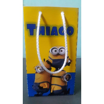 10 Bolsitas Con Manija Personalizadas Minions Mickey Bebe