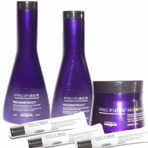 Kit Pro Fiber Reconstruct Shampoo Enjuague Mascara Ampollas