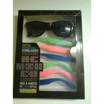 Combo De Lentes Gafas Wayfarer Patillas Colores Importados