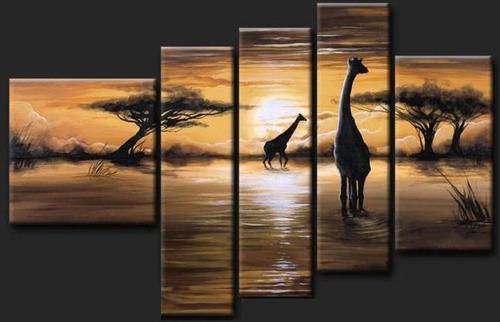Cuadros modernos tripticos paisajes africanos texturados for Cuadros tripticos grandes